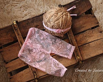 Newborn girl,  photography prop lace, newborn girl, RTS, baby girl clothes, lace pants  & headband