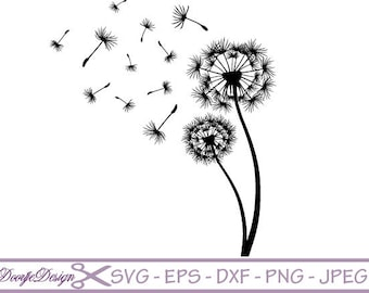 SVG files vector Dandelion, vector files for cricut, floral cutting files flowers, clipart floral, silhouette flowers, cutting files