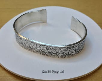 Ivy Vine Textured Heavyweight Cuff Argentium Sterling Bracelet Bangle