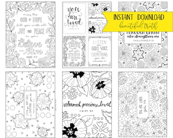 Entire Coloring Collection! 19 Printable Coloring Pages, Instant Digital Download, Christian Coloring Sheet, Bible Verse, Uplifting