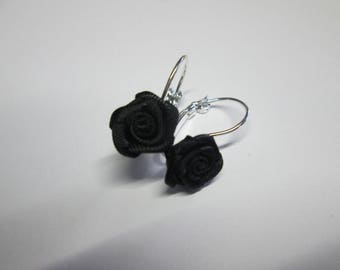 Stud Earrings with a small black rose