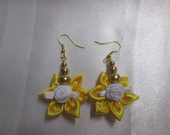 Satin yellow and white rose flower earring