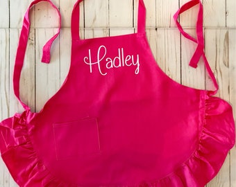 Children's Pink Ruffle Apron, Monogrammed, Personalized Child's Pink apron