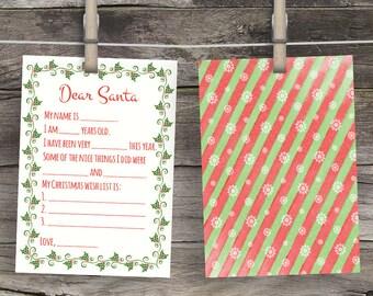 Christmas Wish List Dear Santa Letter Printable Letters to Santa Keepsake Children's Letter to Santa Christmas Wishlist Santa's Nice List