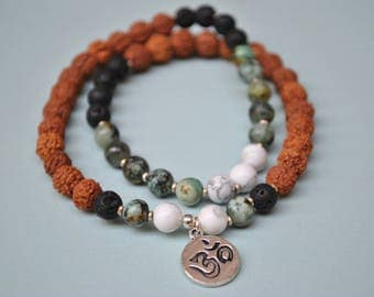 True North bracelet, mala bracelet, meditation bracelet, yoga bracelet, african turquoise, howlite, lava rock, rudraksha
