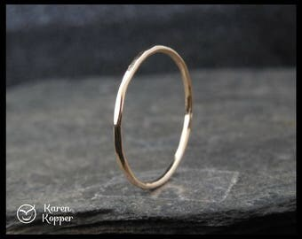 14k Solid Gold ring, thin ring, 1mm ring, made at your size. Skinny ring, thin ring, stacking ring. Wedding band, engagement ring.