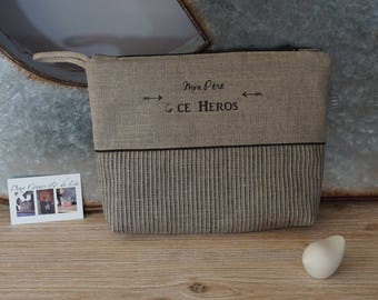Customizable linen and black faux Toiletry Kit