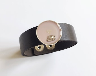 Pink Coffee Bracelet/Coffee Leather Cuff Bracelet/Coffee Lover Gift/Teacup Jewelry/Real Flower Cuff/Floral Bracelet/Gifts for Her