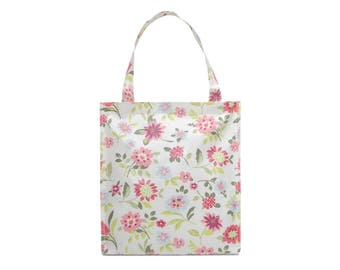 Oilcloth lunch bag for women - Small Reusable bag - Oil cloth lunch bag for kids- Ladies toiletry bag - small bag - Waterproof bag - daisy
