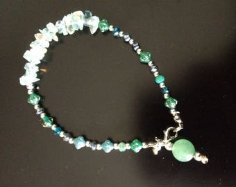 Bracelet with Lampwork beads, Crystal beads, decorated glass chips' a jade bead