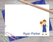 Personalized Basketball Notecards, Boys Thank You Notes, Custom Sports Stationery Set for Boy, Kids Note Cards, Blank Card (1708-021FL)