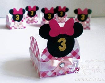 10 candy box Minnie Mouse - Unique design - favour box Minnie - paper box - Gift Box Set - Birthday Bomboniere-Small Candy Cups Minnie party