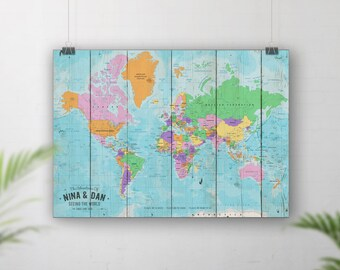 Push Pin Travel Map, Pin Board Map, World Travel Map, Places we've been map, Place going, Map of World, Personalised map, Custom wall map