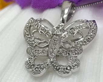 """Diamond Butterfly Pendant with 18"""" 14K White Gold Box Chain #5318 **Close Out**"""