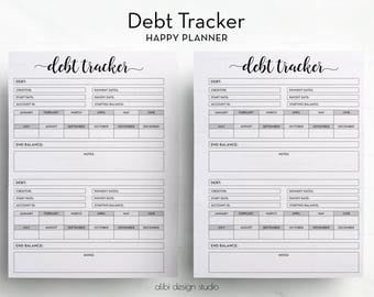 Debt Tracker, Happy Planner, Financial Planner, Debt Planner, Budget Planner, Happy Planner Inserts, Finance Organizer, MAMBI Debt Printable