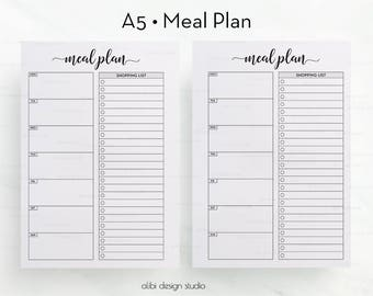 Meal Planner, A5 Planner Inserts, Shopping List, Weekly Meal Planner, Printable Planner, A5 Inserts, Meal Tracker, A5 Planner, A5 Filofax