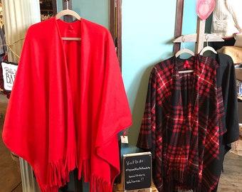 Super Soft Red Anti Pill Fleece Ruana Wrap Poncho Serape with Fringe Trim