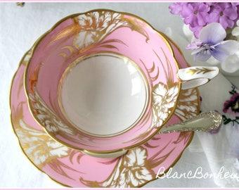 Royal Stafford, England: Elegant pink tea cup and saucer