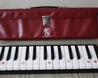 """HOHNER Melodica PIANO 27 Germany Vintage Musical Instrument """"Hohner Melodica""""  With Carry Case *NO Mouthpiece"""