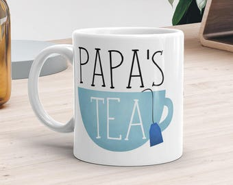 Papa's Tea - Ceramic Mug 11oz or 15oz - Funny Mugs With Sayings Teacup Tea Lover Gift Fathers Day Gifts For Dad Papa Poppa Daddy Father Pops