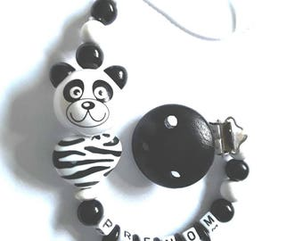 Attache tétine  coeure de panda