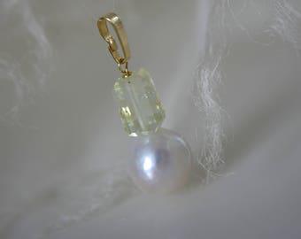 Solid Gold Pendant Aquamarine wrinkles Kasumi Like Pearl  Aquamarin Falten Kasumi Like Perle Anhänger Gold 333