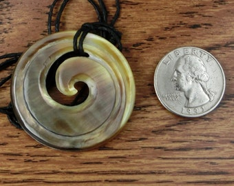 Maori Koru  Pendant Necklace, Hand Carved,  MOP Shell, Surfer Necklace, Free Shipping