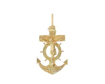 14K Yellow Gold Mariner Crucifix Anchor Cross Pendant