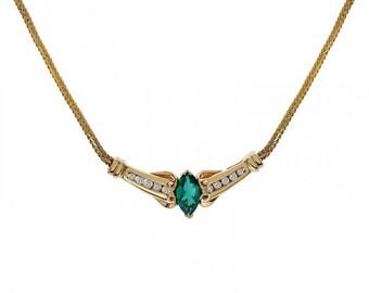 1.00 Carat Marquise Cut Tsavorite Necklace With 0.20 carat Round Cut Diamonds 14K Yellow Gold