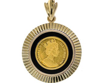 Elizabeth II 1/20 Oz. Fine Gold Coin Pendant in 14K Yellow Gold Frame