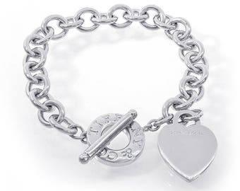 Genuine Return to Tiffany & Co. Heart Tag Toggle Bracelet in Sterling Silver