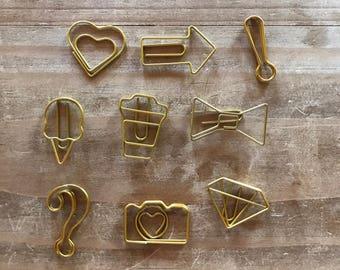 Gold paper clip / Flea Market / diamond / arrow / bow / heart / planner accessories / bookmark / personal planner / A5 planner