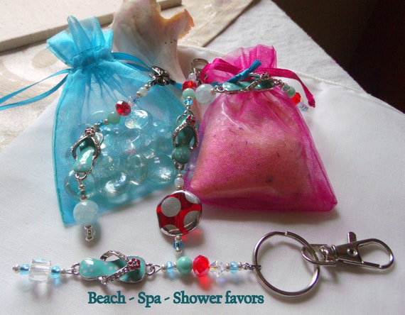 Flip flop charm zipper pull - aqua sandal charm - red spa gift - party favor - key chain - hand bag clip  - girls night out - Beach wedding