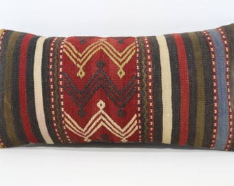 12x24 Handwoven Embroidered Kilim Pillow Sofa Pillow 12x24 Turkish Kilim Pillow Lumbar Kilim Pillow Bedding Kilim Pillow SP3060-966
