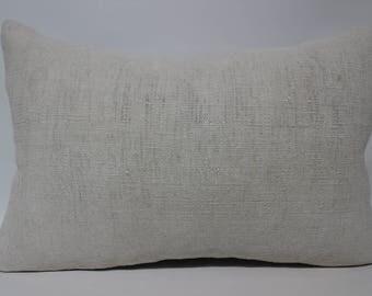 16x24 Lumbar Kilim Pillow White Kilim Pillow Turkish Kilim Pillow Flat Woven Kilim Pillow Turkish Cotton Kilim Pillow SP4060-1168