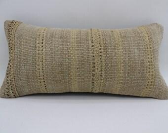kilim pillows beige pillow organic pillow rustic sham 10x20 turkish pillow lumbar cushion cover vintage kilm pillow throw pillow SP2550-1694