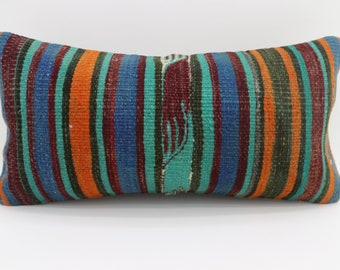 12x24 Multicolor Kilim Pillow Throw Pillow 12x24 Lumbar Pillow Turquoise Striped Kilim Pillow Ethnic Pillow Cushion Cover SP3060-1744