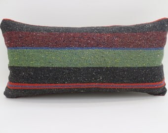 12x24 Multicolor Kilim Pillow Striped  Kilim Pillow 12x24 Lumbar Pillow Red  and Green  Kilim Pillow Throw Pillow Cushion Cover SP3060-1765