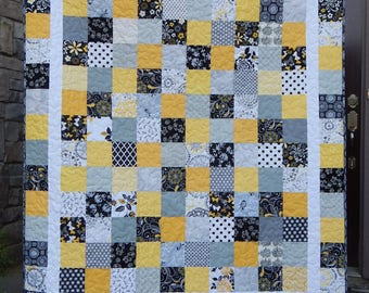 Made to Order in your colors, Patchwork Quilt, Modern Lap, Twin, Queen, King, Bed Quilt, Homemade Blanket, Custom Quilts for Sale, Bedding