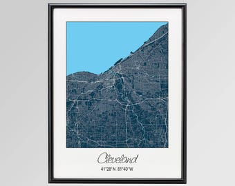 Cleveland Ohio Map, Cleveland City Map Print, Cleveland Map Poster, Cleveland Wall Art gift, Custom city, Personalized map