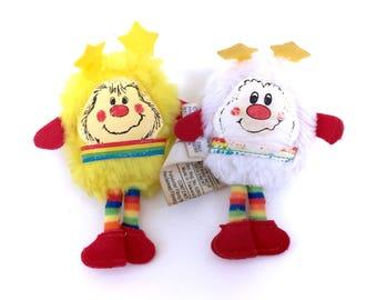 Vintage Rainbow Brite LOT of 2 Mini Sprite Dolls Twink And Spark Original 1983 Bright Plush Hallmark Stuffed Miniature Plushies Retro Pride