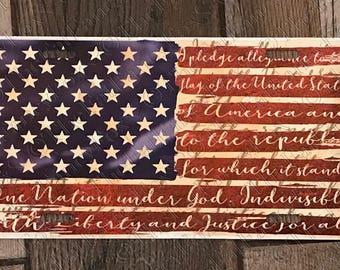 Vintage Look Pledge of Allegiance Car Tag