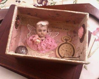 Antique Doll Diorama/Shadow Box. Cute doll art. Doll assemblage. Charming doll art gift. Keepsake box