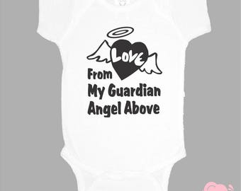Love From My Guardian Angel Above onepiece bodysuit custom body suit personalized one piece family love angel wings heaven grandma grandpa