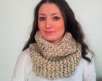 50% OFF SALE Knit Infinity Scarf, Knit Cowl Scarf, Chunky Knit Scarf, Oatmeal Riverside Cowl