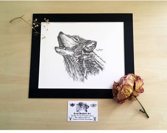 Wolf Pen and Ink Illustration Art Print - Traditional Art, Animal Drawing, Direwolf