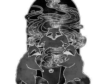 Occult Trash Raccoons A3 Print