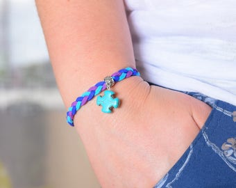 Hand Knitted Wrap Bracelet with Christian Cross Charm - Summer Gift Idea Jewelry