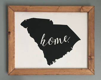 Home State Sign with Thick Wooden Frame