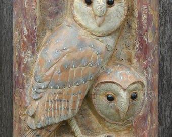 "Barn Owl Wall Plaque, Barn Owl Relief Sculpture,""Peek-A-Boo"", Owl Art"